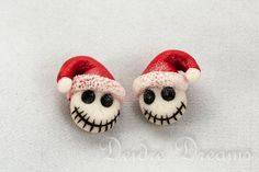 Christmas Jack Skellington Earrings, Skull Earrings, Goth Christmas Earrings, Polymer Clay Earrings, Nightmare Before Christmas, Kawaii on Etsy, $35.00