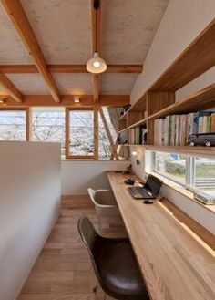 Half wall separating office from larger room. Would be great in a home with a great room but doesn't have a formal office space. Studio House, Room Interior, Interior And Exterior, Japanese Interior, Japanese House, Home Office Design, House Rooms, Interior Architecture, Interior Decorating