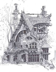 skizzieren – # architecture-desi… sketches – # architecture, though … House Sketch, House Drawing, Fantasy House, Fantasy Art, Croquis Architecture, Pencil Sketches Architecture, Architecture Memes, Famous Architecture, Arch Architecture