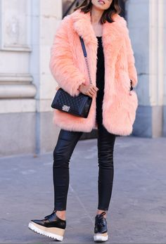 See by Chloe faux fur coat via Coggles { also here } | Current/Elliot The Prospect leather pants | Chanel Boy flap bag in perforated leather | Stella McCartney black Britt shoes | Crap Eyewear TV Eye shades via Nasty Gal