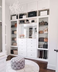 master closet with crystal chandelier Happy Friday, everyone! I'm so excited to FINALLY share my completed master closet renovation with California Closets today! Walk In Closet Design, Closet Designs, Master Closet Design, Closet Vanity, Closet Mirror, Closet Drawers, Dressing Room Design, Dressing Room Closet, Dressing Rooms
