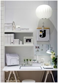 White modern home office