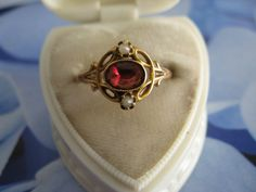 Antique 10K Garnet Seed Pearl Ring, Fine Estate Jewelry
