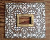 5x7 Kaleidoscope Frame in Vintage White on Cobble Brown Gold Herringbone Trim