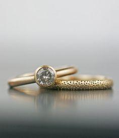 alternative moissanite ou diamant 14K or fiançailles par lolide, $795.00