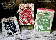 Stampin' Up! This Christmas DSP gift bags Stampin Up Peace This Christmas, Christmas In July, Christmas Gift Tags, Xmas Cards, Handmade Christmas, Holiday Cards, Fun Cards, Christmas Decor, Christmas Paper Crafts