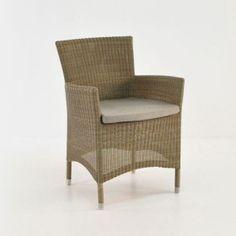 Enna Wicker Dining Arm Chair (Stonewash)