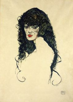 Portrait of a woman with black hair - Egon Schiele - WikiPaintings.org