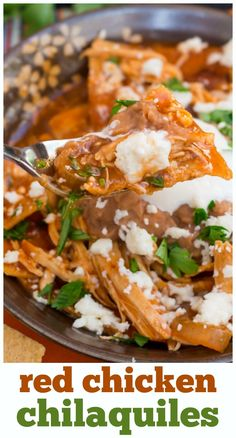 This easy chicken chilaquiles recipe is smothered in refried beans and red enchi. This easy chicken chilaquiles recipe is smothered in refried beans and red enchilada sauce. So easy and good! Authentic Mexican Recipes, Mexican Food Recipes, New Recipes, Cooking Recipes, Ethnic Recipes, Recipies, Mexican Breakfast Recipes, Entree Recipes, Easy Recipes