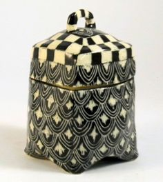 Ceramic BOX with Handle on LID Hand-Built Art by TheClayBungalow