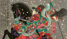 Tomoe Gozen era una excelente amazona. Female Samurai, Samurai Art, Tomoe, Japanese Prints, Japanese Art, Japanese Painting, Woodblock Print, Asian Art, Traditional Art