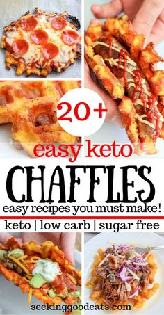 Keto chaffles you must try! 20+ chaffle recipes that are easy and delicious. From savory to sweet chaffles, breakfast chaffles, and even dessert chaffles - we've got you covered. Chaffles are the perfect keto recipe that you can make in a hurry. Great bread substitutes for hamburgers, bratwrust, or hot dogs. Try taco chaffles, pizza chaffles, BBQ pork chaffles, churro chaffles, blueberry chaffles, and more! #keto #chaffle #ketochaffle #lowcarb #ketowaffle #seekinggoodeats Bariatric Recipes, Ketogenic Recipes, Low Carb Recipes, Diet Recipes, Healthy Recipes, Easy Diabetic Recipes, Bread Recipes, Quail Recipes, Jar Recipes