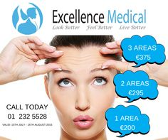 You can't be guaranteed that this sunshine will last a month here in Ireland, so we've decided to run a SUMMER SPECIAL for the next 4 WEEKS instead! To book your consult with Mr. Shunil Roy M.B,B.S, FRCS or for more information on anti-wrinkle injections, please visit www.ExcellenceMedical.ie today! Anti Wrinkle Injections, Cosmetic Clinic, Neck Lift, Dermal Fillers, Summer Special, Dublin, Promotion, Medical, Wellness