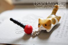 SALE30-70%OFF: Cute orange cat playing red ball Plug iPhone . Dust Plug . Phone Plug . Phone Charm cats, Kawaii, Lovely, Girly, Cat on Etsy, $3.80