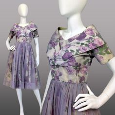 VINTAGE-1950s-SHAWL-COLLAR-Tea-Dress-SWING-Floral-CHIFFON-Fancy-ROCKABILLY-XS-S