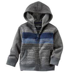 Striped Sweater-Fleece Hoodie
