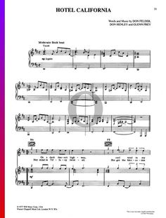 Hotel California by Eagles- Piano Sheet Music  #piano #pianosheetmusic #pianosheets Hotel California, Easy Piano, Pop Songs, Piano Sheet Music, The Voice, Guitar, Album, Rock, Musica