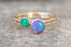 GOLD OPAL RING set - 4mm und 6mm Opalring - Stacking Opalring - Skinny Opal Ring - bunte Opale - wählen Sie Ihren Opalring - Edelstein-Ring-