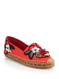 Dolce & Gabbana - Locket, Flower & Jewel Embroidered Espadrilles-These are nice too, but the price!