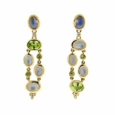 Temple St. Clair Diamond Moonstone Peridot 18k Gold Earrings