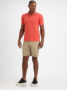 guys'  day vacation outfit! like the orange & beige combi- Fred Perry - Cotton Polo - Saks.com