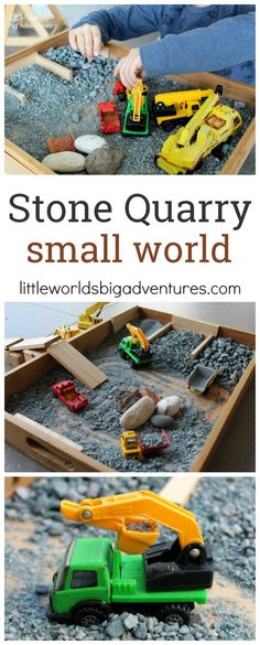 Stone Quarry Small World for pretend play | Little Worlds Big Adventures #construction #smallworld #pretendplay #invitationtoplay #preschool #sensoryplay