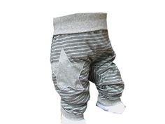 "Pumphose ""Stripes"" grau geringelt Stern von KalleKnatschbonbon NÄHPAUSE 11.-26.12.13! auf DaWanda.com"