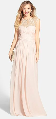 Beautiful blush gown with lace illusion neckline