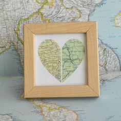 Valentine for Him Wedding Gift for Couple Map Heart Framed by ekra