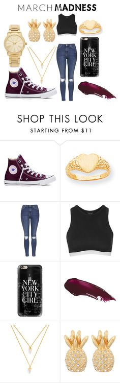 """March madness"" by victoriamello11 on Polyvore featuring Converse, Kevin Jewelers, Topshop, Casetify, BaubleBar, Lilly Pulitzer, Michael Kors, hightops, VAMP and marchmadness"