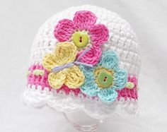 BABY CROCHET HAT Pattern Flutter by baby hat por KerryJayneDesigns