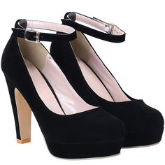 Black Ankle Strap High Heel Pumps (€23) ❤ liked on Polyvore featuring shoes, pumps, heels, high heels, sapatos, black black, ankle strap platform pumps, high heel platform shoes, black heel pumps and black high heel shoes