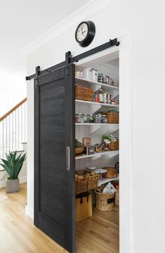 Pantry Barn Door Black Barn Door The pantry barn door was painted with Old Fashi. - Pantry Barn Door Black Barn Door The pantry barn door was painted with Old Fashioned Milk Paint, co - Küchen Design, Home Design Decor, Interior Design, Design Ideas, Modern Interior, Room Door Design, Luxury Interior, Design Projects, Design Trends