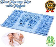 SPJ: Reflexology Shiatsu Foot Massage Mat Massager Plate Board with Magnet (Blue)