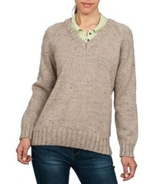 Beige British Wool V Neck Sweater