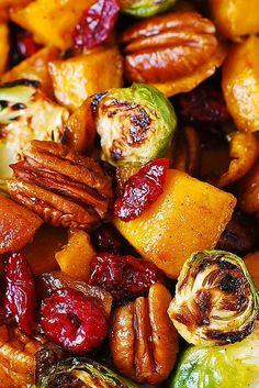 The Best Thanksgiving Side Dish: Roasted Brussels Sprouts, Cinnamon Butternut Squash, Pecans, and Cranberries. **I would cut the brussels sprouts in quarters next time. Vegetable Side Dishes, Vegetable Recipes, Vegetarian Recipes, Cooking Recipes, Healthy Recipes, Turkey Recipes, Salad Recipes, Best Thanksgiving Side Dishes, Thanksgiving Salad