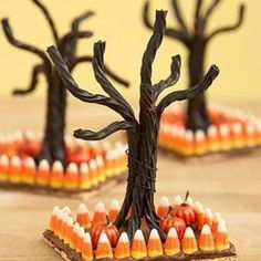 Licorice Halloween trees.  Neat idea.  Cool on their own, or as part of a haunted gingerbread house.