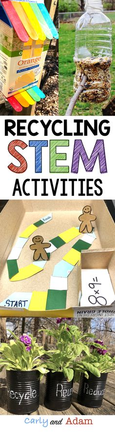Earth Day STEM: Engage students on Earth Day with these Recycling Earth Day STEM Activities! Students collect and build projects from various recyclables. They must use money to budget how much of each item to purchase before designing and building their projects.
