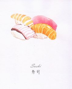 水彩 寿司 Sushi using watercolor