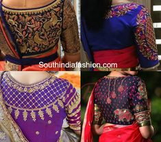 High Neck Maggam Work Blouse Designs for Pattu Sarees