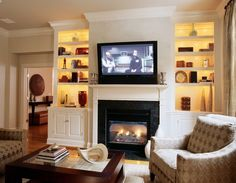 Built In Entertainment Center With Fireplace Built In Shelves Around Fireplace Built In Entertainment Centers For Flat Screen Tvs Built Ins Around Fireplace Ideas How To Arrange Bookshelves Awesome Living Room Built Ins Ideas Fireplace Bookshelves, Fireplace Built Ins, White Fireplace, Bookshelves Built In, Fireplace Design, Fireplace Mantel, Floating Fireplace, Bookcases, Fireplace Outdoor