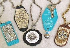 Necklaces made from hotel room key tags/fobs Domino Jewelry, Industrial Jewelry, How To Make Necklaces, Key Fobs, Jewelry Crafts, Jewelry Ideas, Jewelery, Vintage Jewelry, Jewelry Accessories
