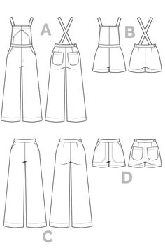 Jenny Overalls, trousers & Shorts Pattern | Technical Flats // from Closet Case Patterns