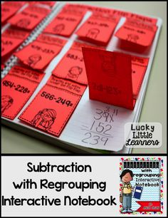 This Subtraction with Regrouping Interactive Notebook is perfect for 2nd and 3rd graders.  It includes 51 pages of opportunities for differentiation, 2-digit & 3-digit problems, critical thinking problems, story problems, odd & even sort, regrouping & not regrouping sort, mini anchor charts, and so much more!  It also includes a photo of every activity for easy assembly!