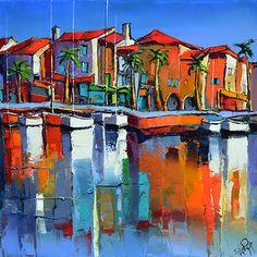 French Art Network | Lepape, Eric - RUE DU PORT COLLOURE - (60x60cm) - oil on linen painting.