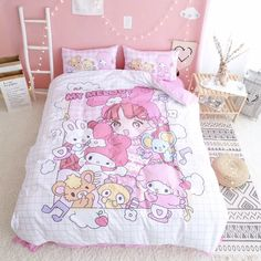 31 Perfect Bed Sheets Ideas For Your Bedroom - Choosing the right bed sheets is vital to your happiness. While it may not seem like a lot at first, the right bedding can help you to sleep better an. Pastel Room, Pink Room, Pink Bed Sheets, Kawaii Bedroom, Aesthetic Room Decor, Sanrio, Girl Bedroom Designs, Pink Bedding, Bed Sheet Sets