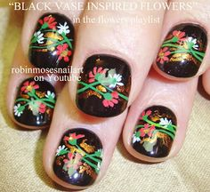 Nail-art by Robin Moses: red and blue flower nails, cutest flower nails, red and blue nails, cherry red nails, short nail ideas, short nail ...
