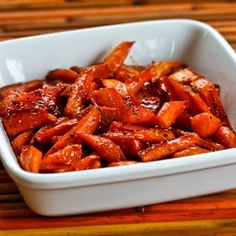 Maple-Glazed Roasted Carrots would be a delicious option for Thanksgiving if your family isn't big on sweet potatoes!  [from KalynsKitchen.com] #HealthyThanksgiving #DeliciouslyHealthy