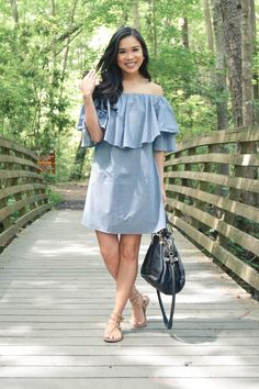 Ruffled off the shoulder gingham dress, less than $25!