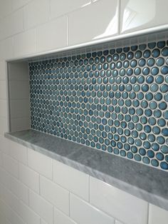 Custom Shower Detail Inset Niche With Penny Tiles Marble Base And Subway Tile Wall